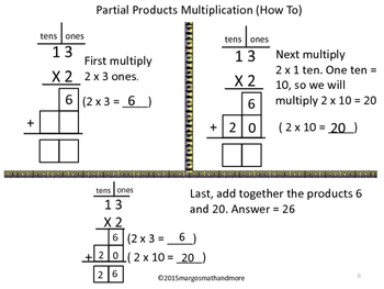 Multiplying 1 Digit x 2 Digits 2 Ways- Traditional & Partial Products