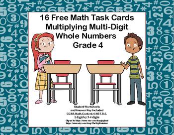 Multiplying 1 Digit by 3-4 Digits -Grade 4- 16 Free Math Task Cards-Tweens