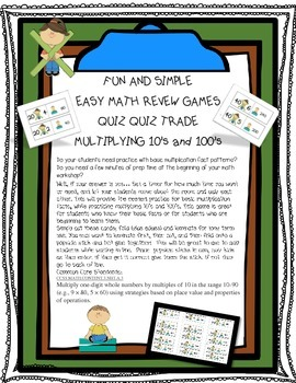 Multiplying 10's and 100's Quiz Quiz Trade Game