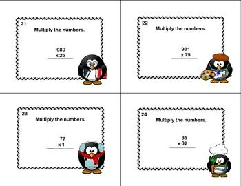 Multiplying 2-3 Digits by 2 Digits -Grade 4- Math task Cards