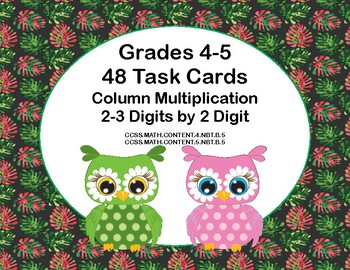 Multiplying 2-3 Digits by 2 Digits -Grades 4-5 48 Math Task Cards-Owl Theme