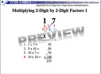 Multiplying 2-Digit By 2-Digit Factors 1 (Part of Multiplication Unit)