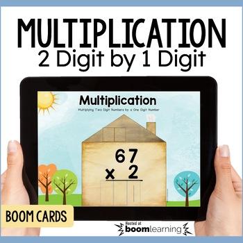 Multiplying 2 Digit Number by a 1 Digit Number Digital Task Cards