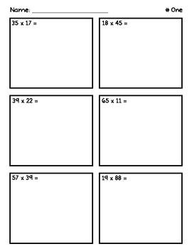 2 Digit Multiplication Worksheets