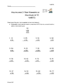 Multiplying 2 Digit Numbers By Multiples Of 10 Worksheets ...
