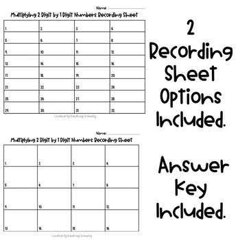 Multiplying 2-Digit by 1-Digit Numbers QR Task Cards