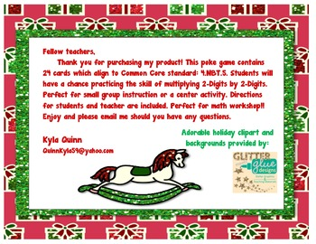Multiplying 2-Digit by 2-Digit POKE Activity 4.NBT.5 HOLIDAY EDITION