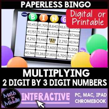 Multiplying 2-Digit by 3-Digit Numbers Interactive Bingo Review Game