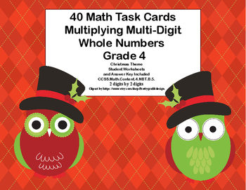 Multiplying 2 Digits by 2 Digits -Grade 4- 40 Math Task Ca