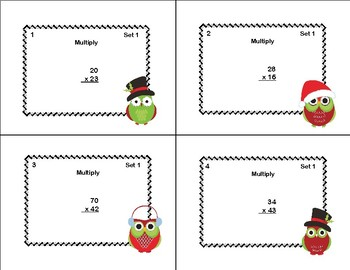 Multiplying 2 Digits by 2 Digits -Grade 4- 40 Math Task Cards-Christmas Theme