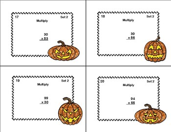Multiplying 2 Digits by 2 Digits -Grade 4- 40 Math Task Cards-Halloween
