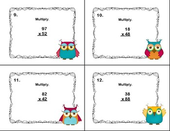 Multiplying 2 Digits by 2 Digits -Grade 4- 40 Math Task Cards-Owl Theme