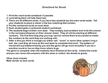 Multiplying 2 Digits by 2 Digits -Grade 4- 40 Math Task Cards-Thanksgiving