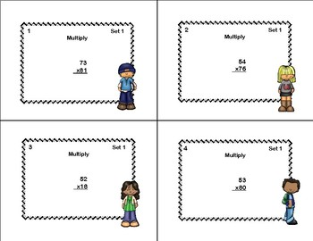 Multiplying 2 Digits by 2 Digits -Grade 4- 40 Math Task Cards-Tweens