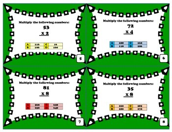 Multiplying 2 digit by 1 digit numbers: problem solving task cards
