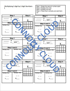 Multiplying 2 digit by 2 digit Numbers Graphic Organizer