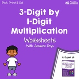 Multiplication 3 Digits by 1 Digit Worksheets With Answer Keys