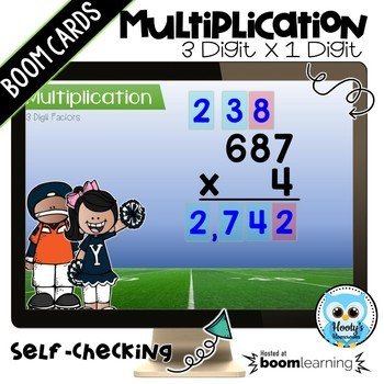 Multiplying 3 Digit Numbers by a 1 Digit Number Digital Task Cards