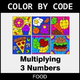 Multiplying 3 Numbers - Color by Code / Coloring Pages - Food