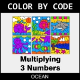 Multiplying 3 Numbers - Color by Code / Coloring Pages - Ocean