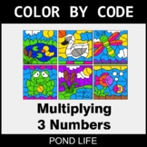 Multiplying 3 Numbers - Color by Code / Coloring Pages - P
