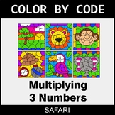 Multiplying 3 Numbers - Color by Code / Coloring Pages - Safari