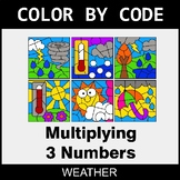 Multiplying 3 Numbers - Color by Code / Coloring Pages - Weather