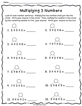 Multiplying 3 Numbers Task Cards and Activities