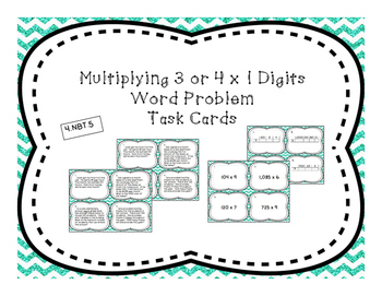 Multiply by 1 Digit Differentiated Word Problem Task Cards + Exit Ticket