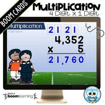 Multiplying 4 Digit Numbers by a 1 Digit Number Digital Task Cards