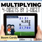 Multiplying 4 Digit Numbers by a 1 Digit Number Digital Task Cards
