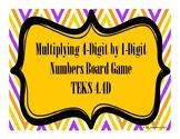 Multiplying 4-Digit by 1-Digit Numbers Board Game TEKS 4.4D