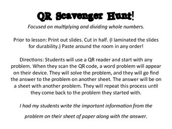 Multiplying And Dividing Whole Numbers QR Scavenger Hunt