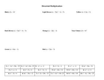Multiplying Binomials (FOIL)