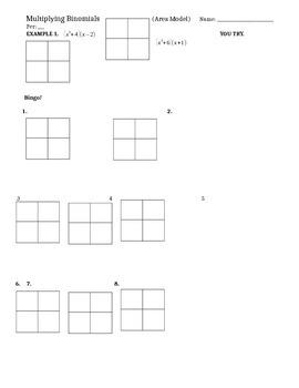 Multiplying Binomials BINGO