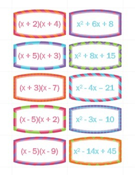 Multiplying Binomials Card Sort