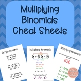 Multiplying Binomials Cheat Sheets/ Reference Sheets