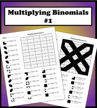 Multiplying Binomials Color Worksheet #1