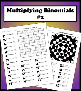 Multiplying Binomials Color Worksheet #2 by Aric Thomas | TpT