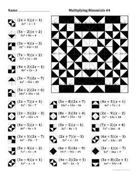 Multiplying Binomials Color Worksheet #4