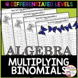 Multiplying Binomials Coloring Activities (4 DIFFERENTIATED LEVELS)