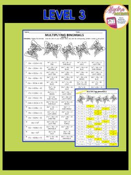 Multiplying Binomials Coloring Activities (4 DIFFERENTIATED LEVELS)