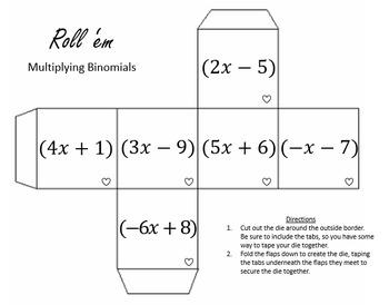 Multiplying Binomials(FOIL) Dice Activities