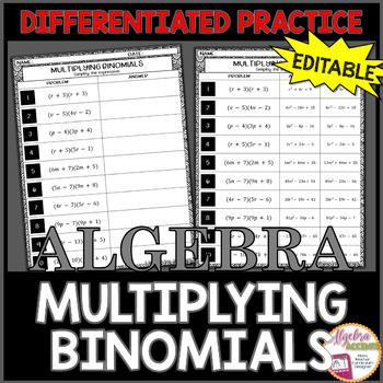 Multiplying Binomials Differentiated Practice EDITABLE