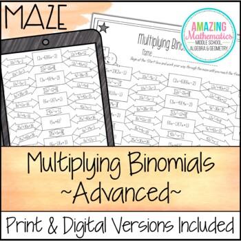 Multiplying Binomials Foil Maze Worksheet Advanced By Amazing