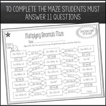 Multiplying Binomials (FOIL) Maze Worksheet - Advanced