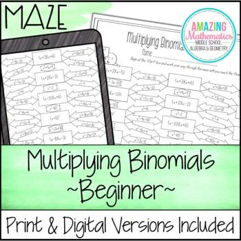 Multiplying Binomials (FOIL) Maze Worksheet - Beginner