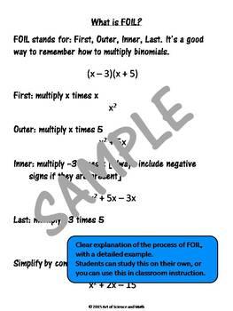 Multiplying Binomials - FOIL Practice - High School Math