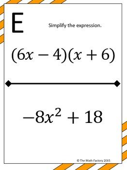 Multiplying Binomials (FOIL) Scavenger Hunt Activity