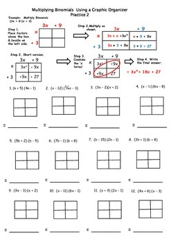 Multiplying Binomials Instructional Practice 2 using a Graphic Organizer